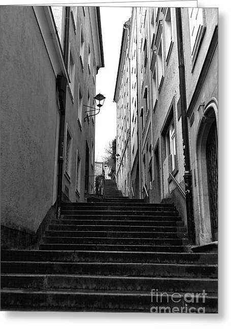 Salzburg Greeting Cards - Going Up in Salzburg Greeting Card by John Rizzuto