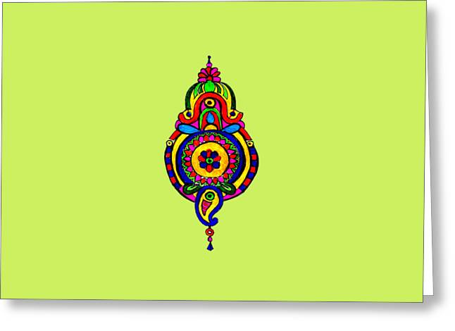 Oil Tapestries - Textiles Greeting Cards - Gola Greeting Card by Amardeep Lall