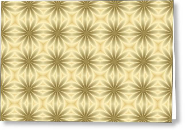 Beige Abstract Greeting Cards - Gold Abstract Flowers in 3D Greeting Card by Lena Kouneva