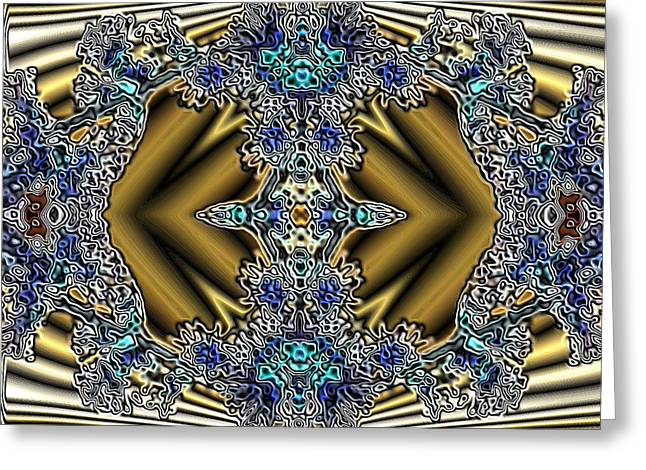 Gold And Blue Series Number Five Greeting Card by Mark Lopez