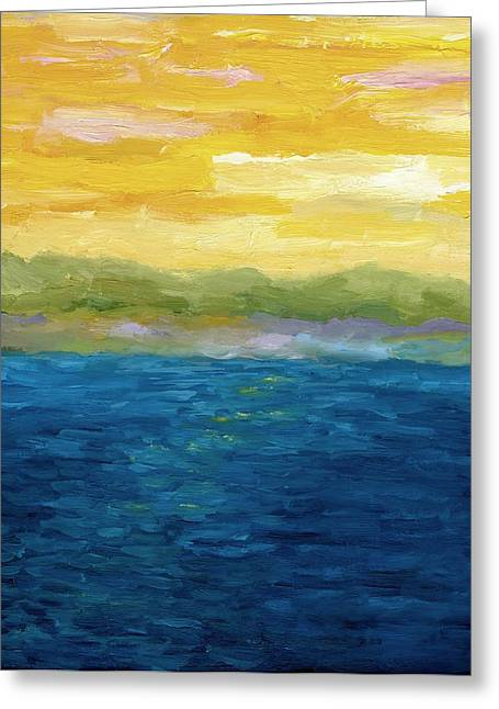 Gold And Pink Sunset  Greeting Card by Michelle Calkins