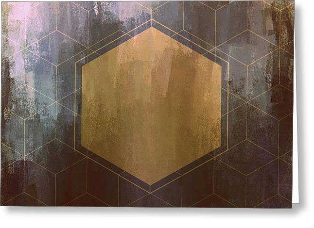 Gold And Purple Hexagon Greeting Card by Brandi Fitzgerald