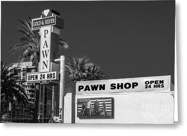 Gold And Silver Pawn Shop Greeting Card by Anthony Sacco