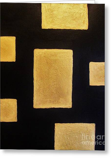 Mix Medium Mixed Media Greeting Cards - Gold Bars Greeting Card by Marsha Heiken