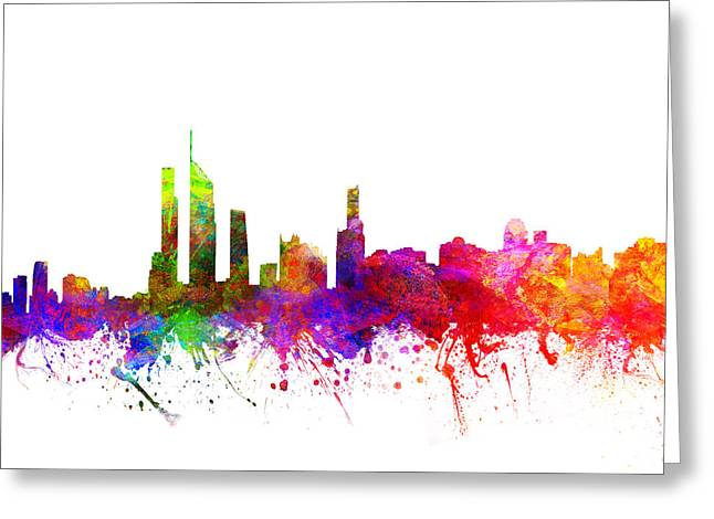 Golds Greeting Cards - Gold Coast Australia Cityscape 02 Greeting Card by Aged Pixel