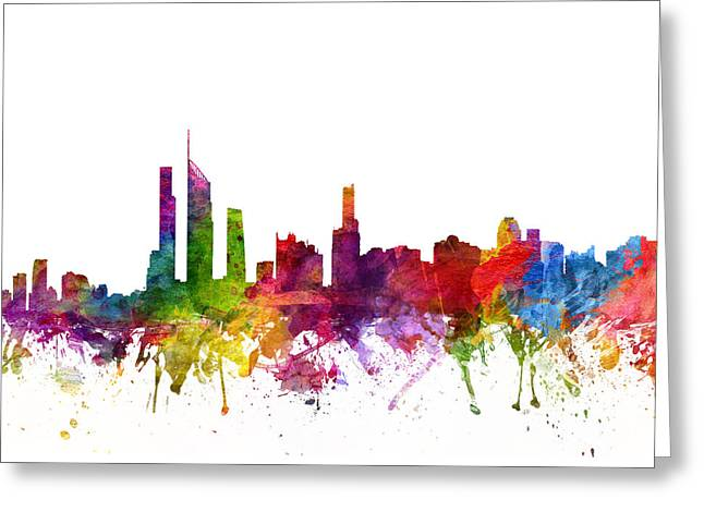 Golds Greeting Cards - Gold Coast Australia Cityscape 06 Greeting Card by Aged Pixel