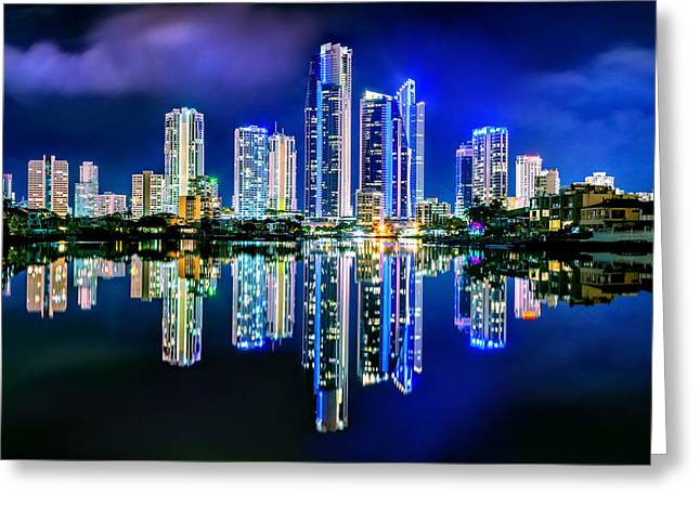Golds Greeting Cards - Gold Coast Reflections Greeting Card by Az Jackson