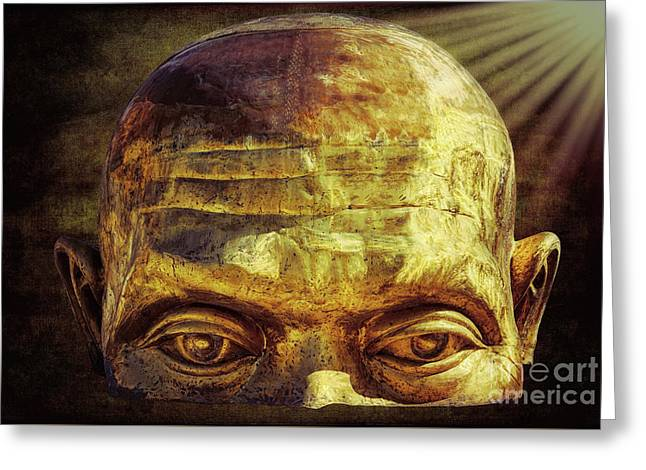 Gold Face Greeting Card by Adrian Evans