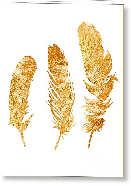 Gold Feathers Watercolor Painting Greeting Card by Joanna Szmerdt