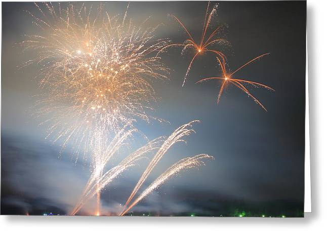 Pyrotechnics Greeting Cards - Gold Fireworks Display Greeting Card by Gregory DUBUS