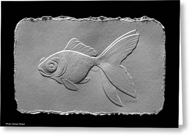Fish Reliefs Greeting Cards - Gold fish1a Greeting Card by Suhas Tavkar