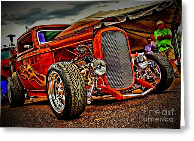 Chrome Grill Greeting Cards - Gold Flames Greeting Card by Perry Webster