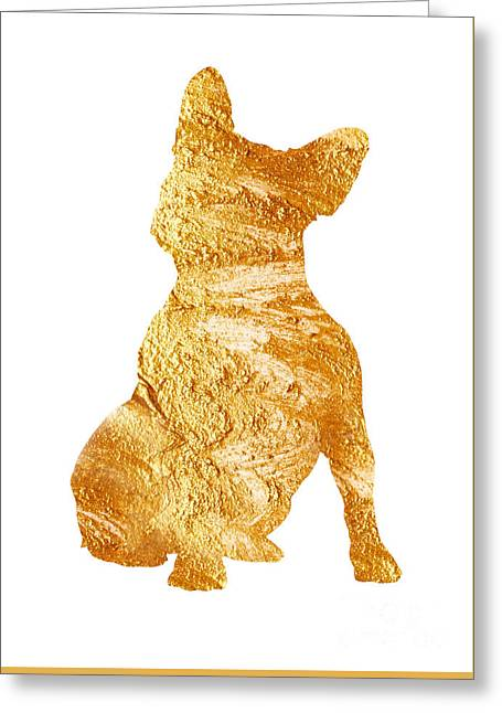 Gold French Bulldog Minimalist Painting Greeting Card by Joanna Szmerdt