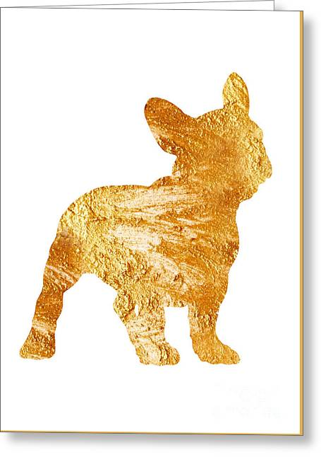 Gold Frenchie Watercolor Painting Greeting Card by Joanna Szmerdt