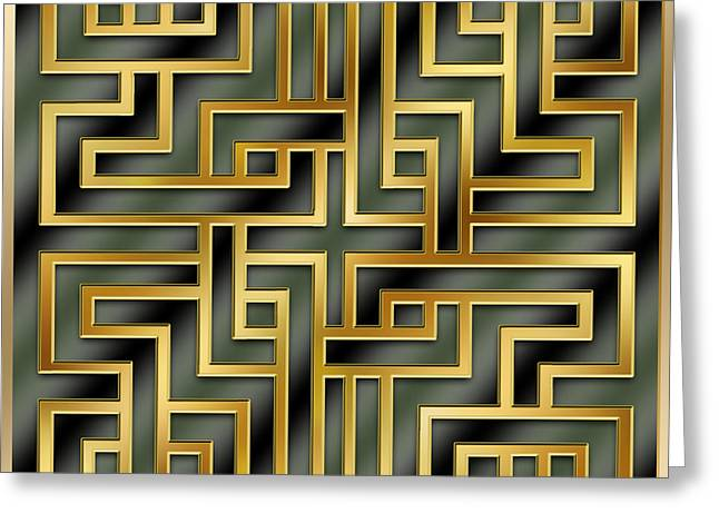 Gold Geo 7 - Chuck Staley Greeting Card by Chuck Staley