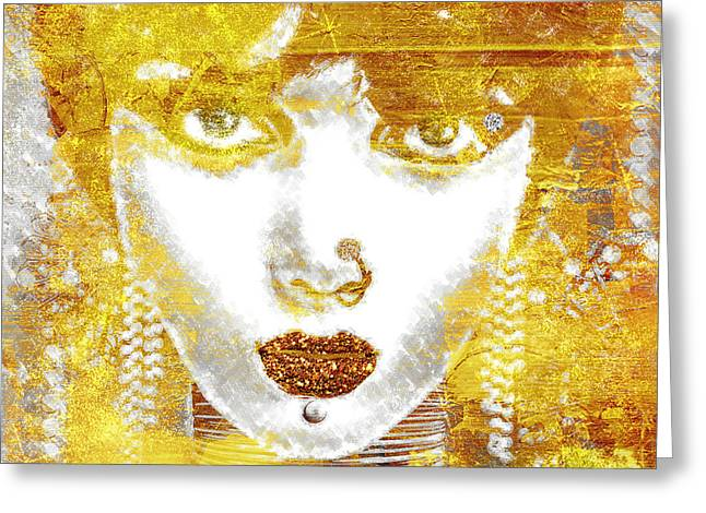 Golds Greeting Cards - Gold Girl Greeting Card by Mindy Sommers