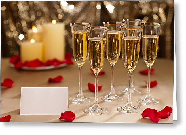 Champagne Glasses Greeting Cards - Gold glitter Wedding reception setting with champagne Greeting Card by Ulrich Schade