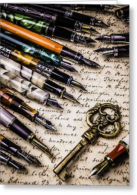 Handwritten Greeting Cards - Gold Key And Fountain Pens Greeting Card by Garry Gay