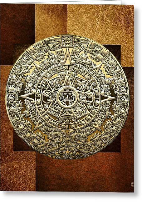 Mayan Mythology Greeting Cards - Gold Mayan-Aztec Calendar on Brown Leather Greeting Card by Serge Averbukh