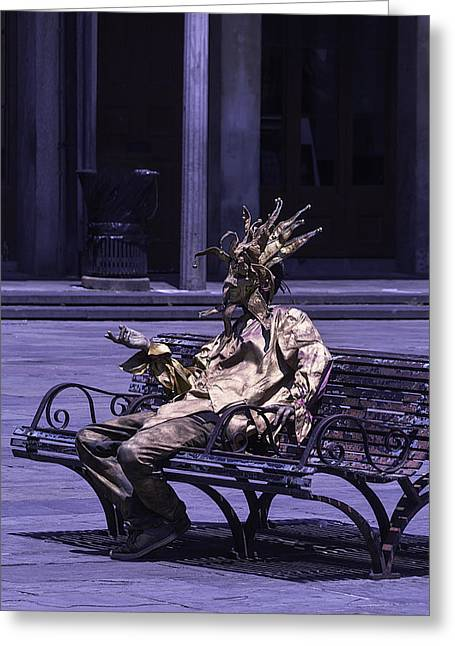 Gold Mime On Bench Greeting Card by Garry Gay