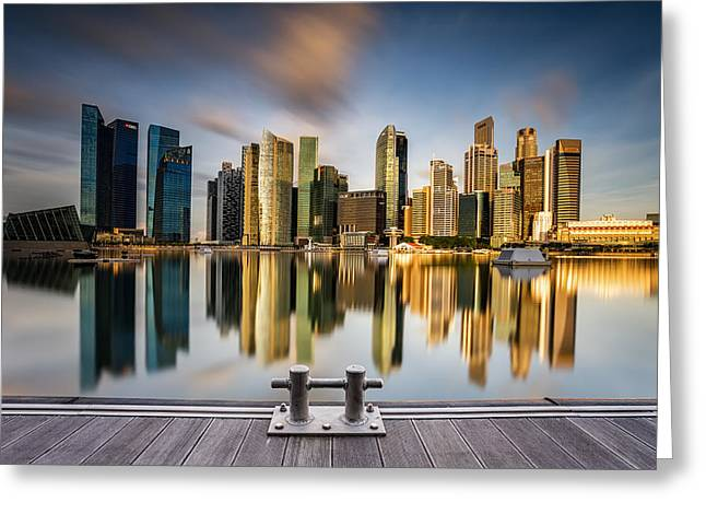 Cityscape Photographs Greeting Cards - Gold Morning Shine Over The City Greeting Card by Zexsen Xie