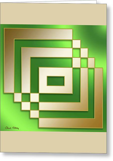 Gold On Green - Chuck Staley Greeting Card by Chuck Staley
