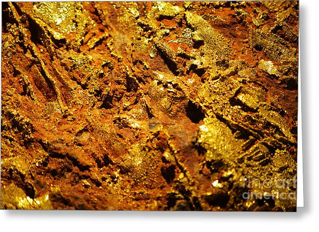 Valuable Greeting Cards - Gold Ore Natural Luster Macro Greeting Card by Shawn O
