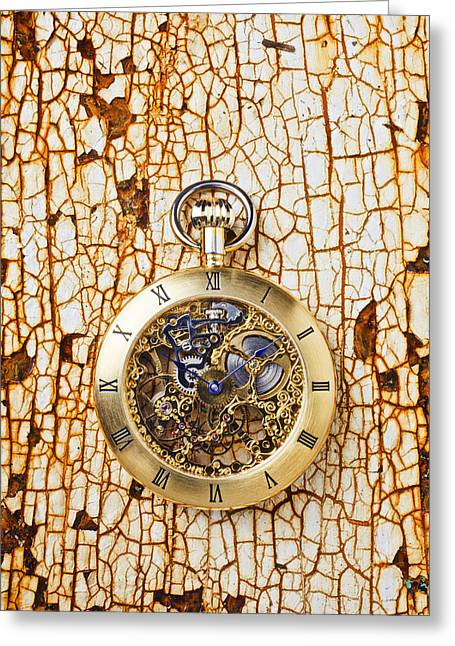 Watch Fob Greeting Cards - Gold pocket watch on rusty table Greeting Card by Garry Gay