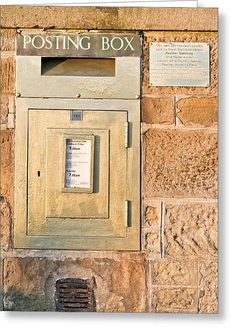 Gold Post Box Greeting Card by Tom Gowanlock