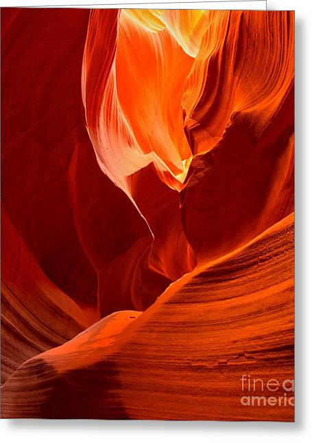 Gold Red And Orange Abstract Greeting Card by Adam Jewell