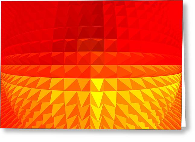 Basis-chakra Greeting Cards - Gold-Red Globe Greeting Card by Ramon Labusch