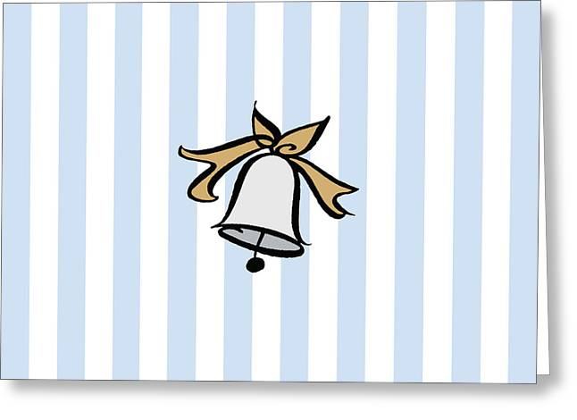 Christmas Art Greeting Cards - Silver Bell with a Gold Bow--Seven Greeting Card by Patti Britton