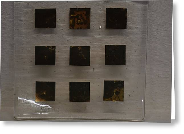 Gold Glass Art Greeting Cards - Gold Squares Plate Greeting Card by Rosalind Duffy