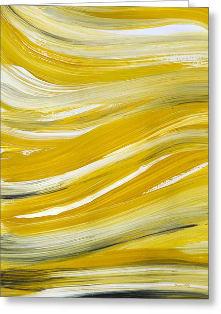 Printed Greeting Cards - Gold Waves Abstract Greeting Card by Christina Rollo