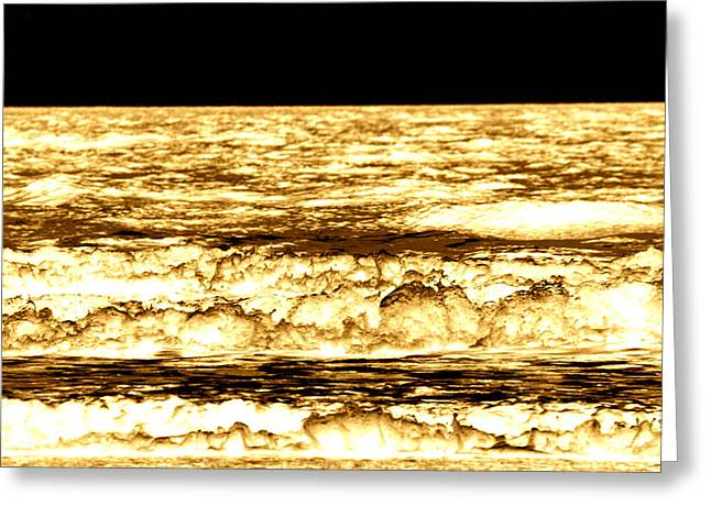 Gold Waves Greeting Card by Duke Brito