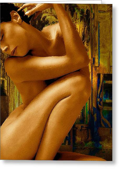 Decorate Greeting Cards - Gold Woman Nude Crop 1 Greeting Card by Tony Rubino