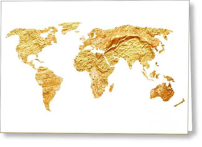 Gold World Map Watercolor Painting Greeting Card by Joanna Szmerdt