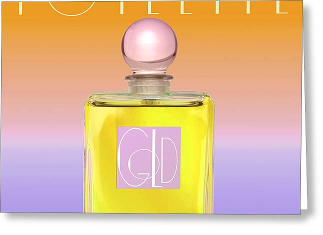 Perfume Bottle Greeting Cards - Gold Yellow Art Deco Perfume Greeting Card by Mindy Sommers