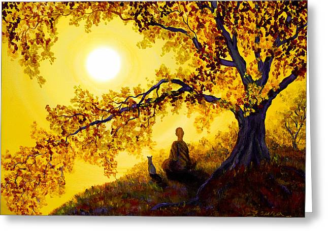 Buddhist Monks Greeting Cards - Golden Afternoon Meditation Greeting Card by Laura Iverson