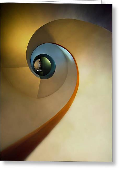 Going Down Greeting Cards - Golden and brown spiral staircase Greeting Card by Jaroslaw Blaminsky