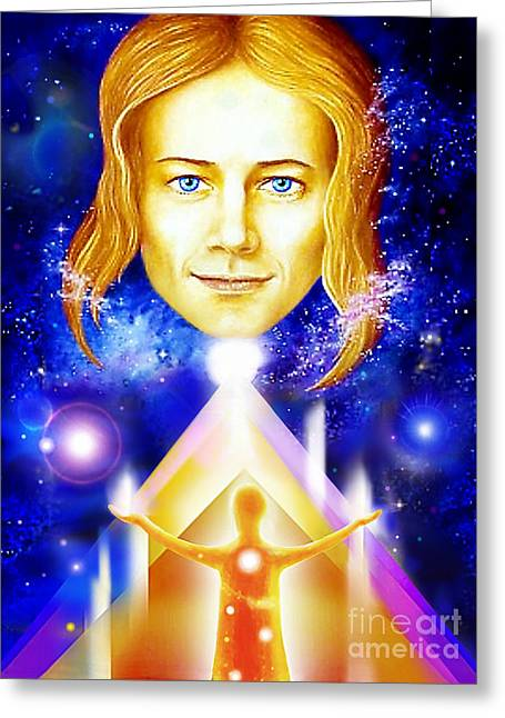 Angel Blues Greeting Cards - Golden Angel Greeting Card by Hartmut Jager