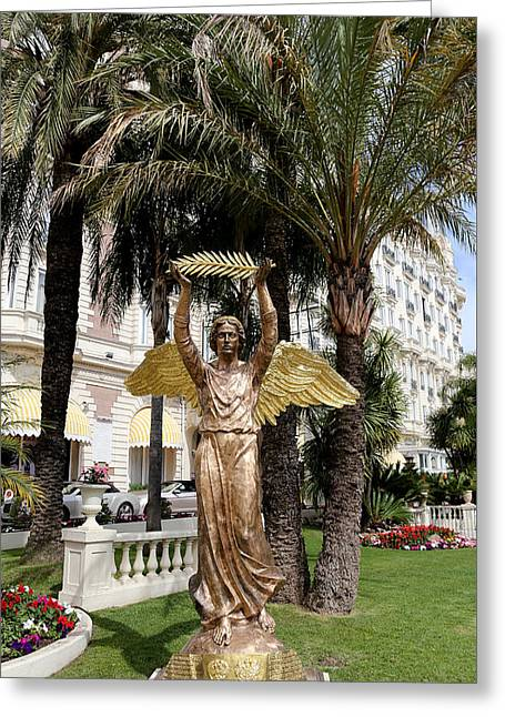 Cannes Greeting Cards - Golden Angel Statue Greeting Card by Andrew Fare