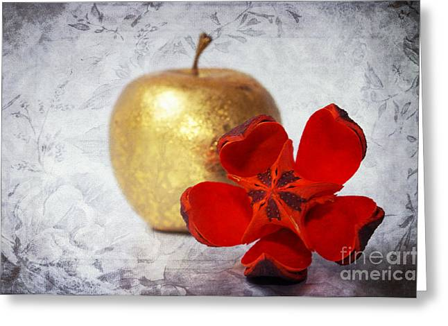 Angela Doelling Ad Design Photo And Photoart Greeting Cards - Golden Apple Greeting Card by Angela Doelling AD DESIGN Photo and PhotoArt