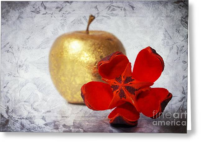 Textured Floral Mixed Media Greeting Cards - Golden Apple Greeting Card by Angela Doelling AD DESIGN Photo and PhotoArt