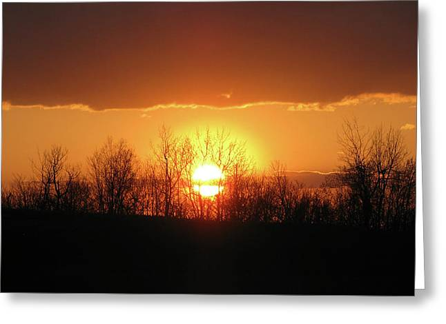 Gold Trim Greeting Cards - Golden Arch Sunset Greeting Card by Debra     Vatalaro