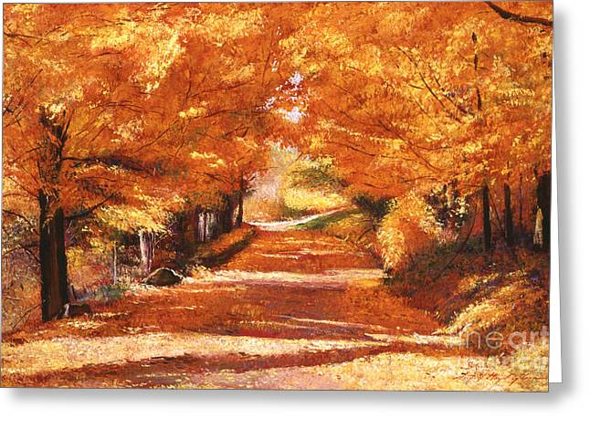 Upstate Paintings Greeting Cards - Golden Autumn Greeting Card by David Lloyd Glover