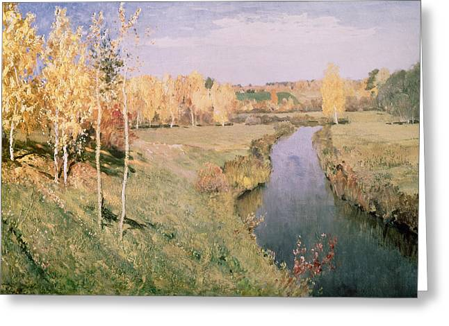 1860 Greeting Cards - Golden Autumn Greeting Card by Isaak Ilyich Levitan
