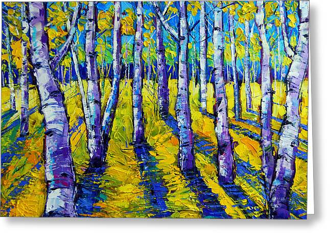 Trees Forest Paintings Greeting Cards - Golden Autumn Symphony Greeting Card by Mona Edulesco