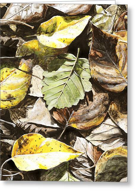 Hyper-realism Greeting Cards - Golden Autumn - Talkeetna Leaves Greeting Card by Karen Whitworth