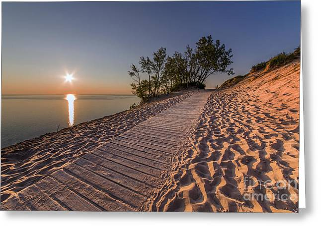 Scenic Drive Greeting Cards - Golden Boardwalk Greeting Card by Twenty Two North Photography